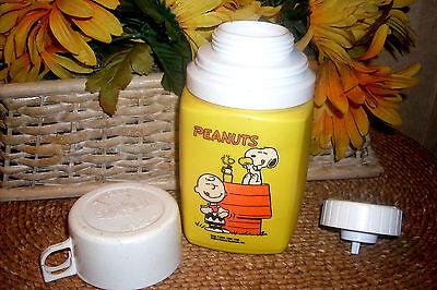 VTG Peanuts Charlie Brown Snoopy Thermos 1965 Yellow lunch 8 oz King Seeley