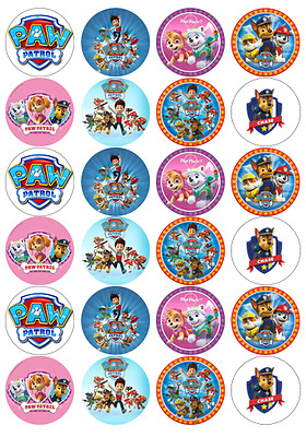 24 x Large Paw Patrol Edible Cupcake Toppers Birthday Party Cake Decoration