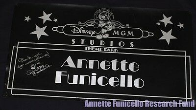 Personal Property of Annette Funicello 1989 DISNEY MGM Grand Opening PARADE Sign
