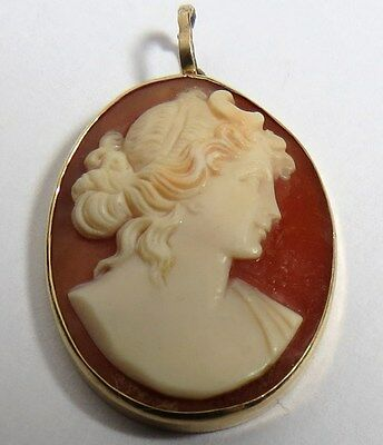Vintage 14K Yellow Gold (585) Hand Carved Cameo Brooch Pendant Charm