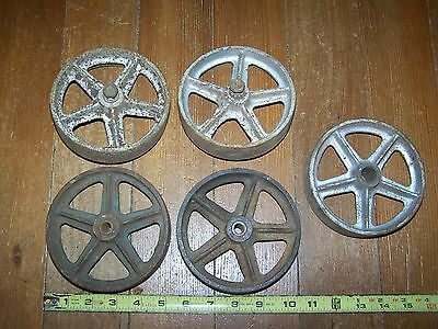 """Set Of 5 Matching Vintage Industrial Cast Iron 5"""" Cart Wheels"""