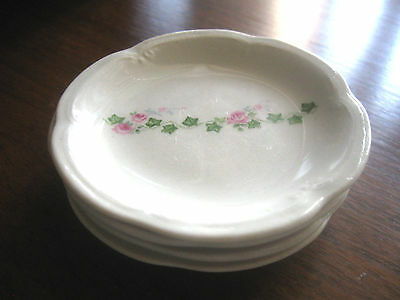 Antique  ROSE floral BUTTER PATS scallop edge..(4) RARE