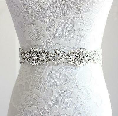 New Style Vintage Crystal Bridal Sash Rhinestone Pearl Beaded Wedding Dress Belt