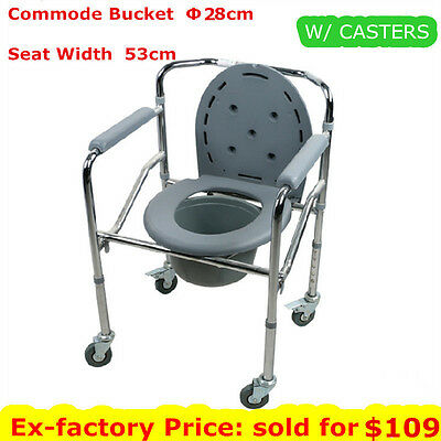 Transport Bedside Commode Mobile Toilet Bathroom Shower Chair Disability Aid