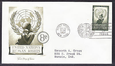 """United Nations """"Artmaster"""" 1954 - 8c Human Rights  First Day Cover addressed"""