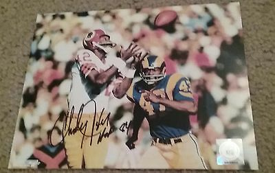 NFL REDSKINS CHARLEY TAYLOR AUTOGRAPHED SIGNED 8x10 FOOTBALL PHOTO COA JSA PSA