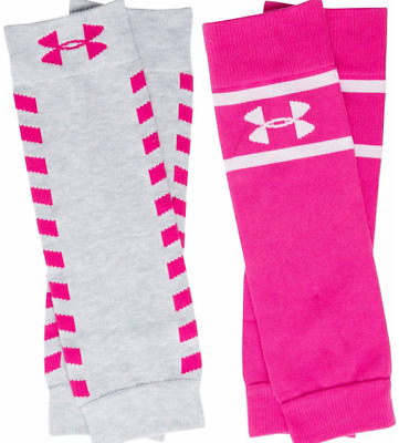 UNDER ARMOUR Women's UA Sport Leg Warmers Cerise Pink Grey 2 Pack 1294854  OSFA