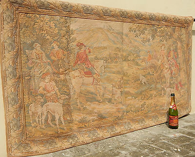 Large Vintage French Hunt with the Hounds Tapestry 190x101cm (A739)