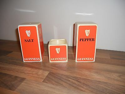 Vintage Retro Guinness Salt And Pepper & Mustard Pot