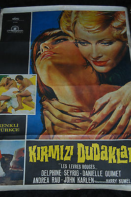 Daughters of Darkness Turkish Poster - Rare Signed Harry Kumel - Delphine Seyrig