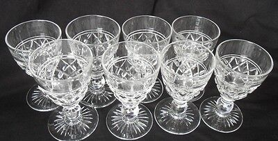 Ornate Wine Drinking Glasses x 8 Set Of Eight Vintage Traditional Pressed Glass