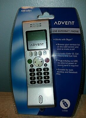 BNIB ADVENT ADE-COM1 USB Internet Phone VOIP Computer PC Notebook Laptop LCD