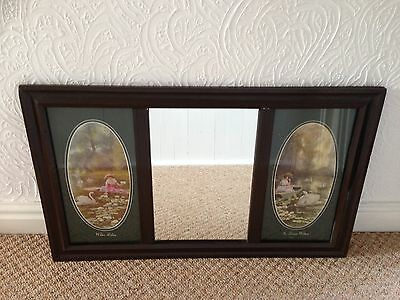 Early 1900's Mirror With Glazed Pictures To Sides