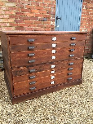 Antique architects Drawers, 8 Drawers...printing press handles.