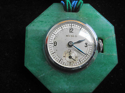 Vintage Mimo Necklace Watch With Jade Surround