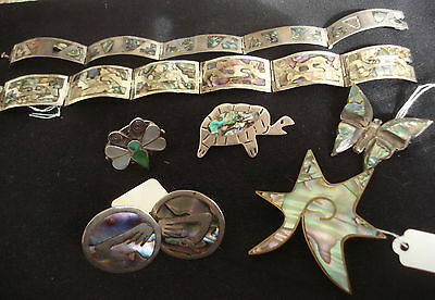 Lot Of Mixed Mexican Silver Abalone Jewelry Bracelets, Earrings, Ring, Brooches
