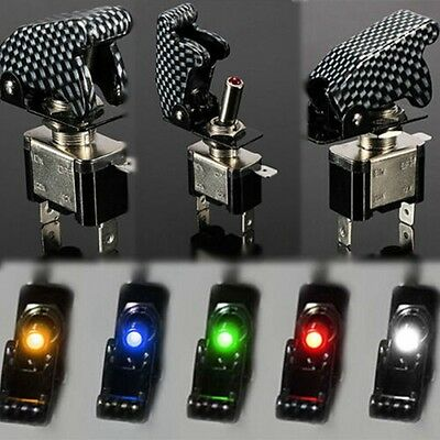 12V 20A Car Dash Illuminated LED Toggle SPST ON-OFF Flick Switch Flip Up Cover