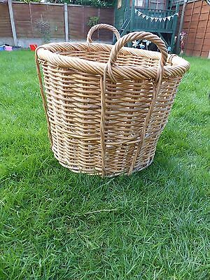 Vintage Ex.Large Wicker Storage / Log / Toy/ Laundry Basket with Handles
