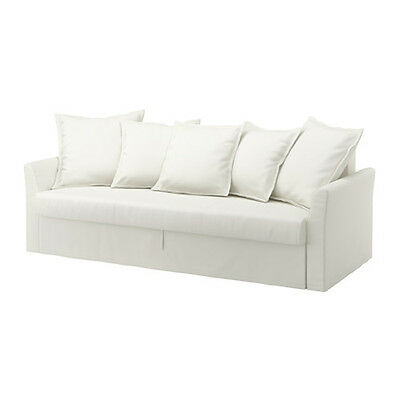 Ikea Holmsund Three-seat sofa-bed cover - Ransta White 702.995.20 w/throw