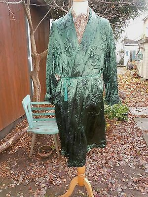 vintage style mens 1940s brocade - green dressing gown/robe BY LOOMWEAR LARGE