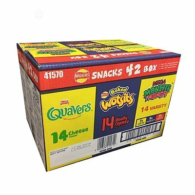 Walkers Snacks Crisps Box Pack (42 Pack) - Wotsits Quavers Monster Munch Variety