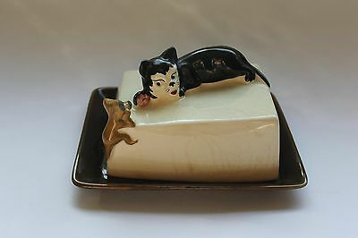 1950s Sylvac Cat & Mouse Butter Dish/ cheese dish, 4525