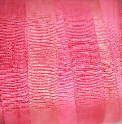 Silk Ribbon for Embroidery 7mm - 3 meters Hot Fuchsia