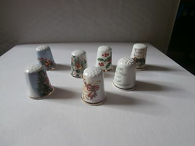 Thimbles  Mixed Lot Of Christmas Thimbles  Seven In Total  No Paperwork As Shown