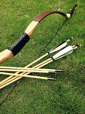Chinese handmade Traditional Longbow recurve Bow 20lb-60lb +6 wooden arrows