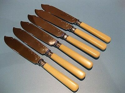 Beautiful Vintage Set of 6 Victorian Style Silver Plate Fish Knife Cutlery