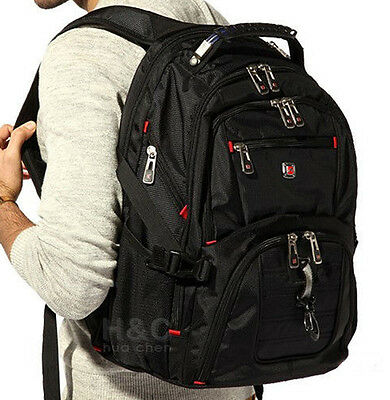"Men's Travel Sport Rucksack 15"" Laptop Backpack Shoulder Swiss Hiking School Bag"