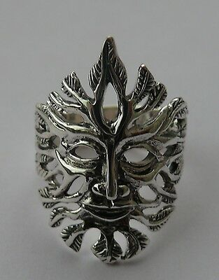 Sterling Silver Large Green Man Ring. Size T.  Pagan/Wiccan/Druid.