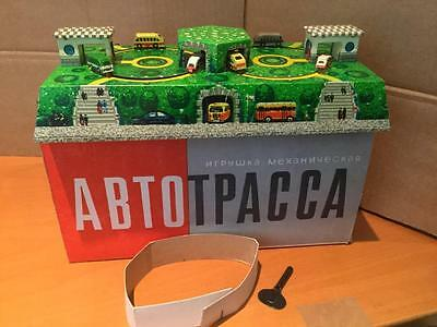 Tinplate Toys Clockwork Roadway Roundabout ABTOTPACCA Russia cars coaches VNMIB