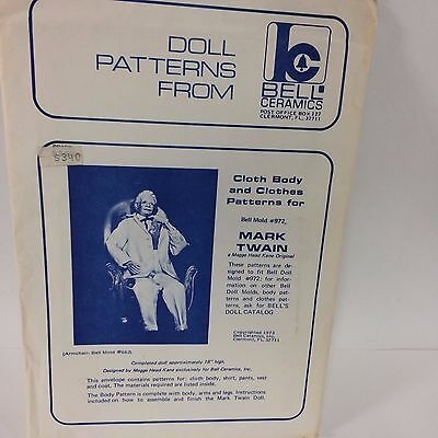 Mark Twain Doll Pattern Bell Ceramics 1973 #972 Body & Clothes Scarce Uncut VTG