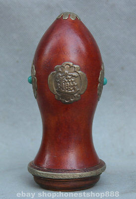 "6"" Old Chinese Gourd Copper Plaything Flower Cricket Bottle Singing Worms Tank"