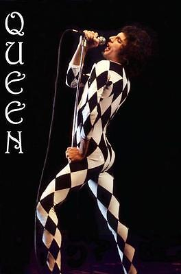 "Queen Freddie Mercury Black and White Diamond Leotard Poster 24"" x 36"""