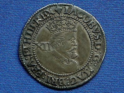 James I Shilling - 3rd coinage - 6th bust - mm lis - Superb