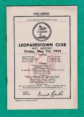 IRISH  Horse racing - Race Card - LEOPARDSTOWN - MAY 7th 1954