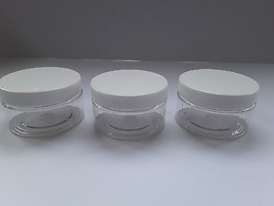 Cosmetic . Box of 12 x 50ml tranparent containers with white lid.
