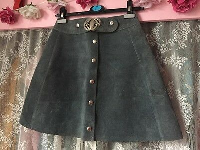 Vintage 1960s High Waisted Grey Suede Mini Skirt. Size 8-10