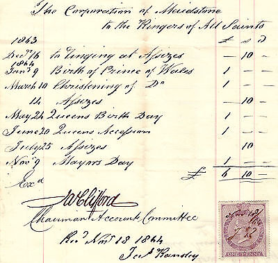 Orig 1864 Maidstone bell ringers, campanology stamped receipt, All Saints Church