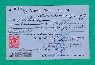 The National Bank Urban District Council Of Fermoy Receipt 1903