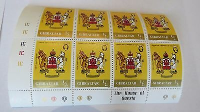 Selection of stamps from Gibraltar including block of 8