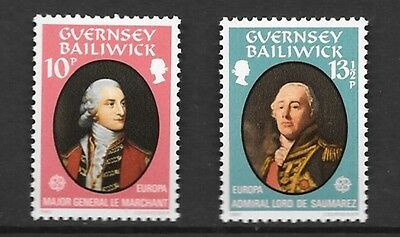 Guernsey 1980 Europa. Personalities Stamp Set Mh