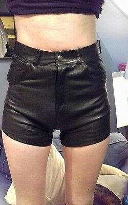 ladies, black leather shorts, hot pants, fully lined, small - size 6.