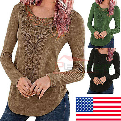 New Fashion Women Loose Long Sleeve Tops Blouse Shirt Casual Cotton T-Shirt
