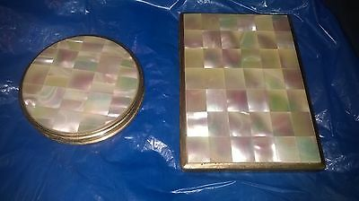 Vintage Mother Of Pearl Cigarette Holder And Mirrored Powder Compact : Swiss