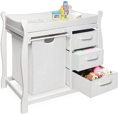 White Changing Table w/ Hamper 3 Storage Drawers Infant Baby Nursery Furniture