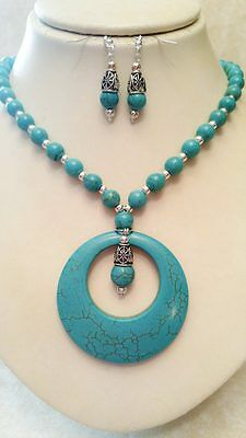 Native American Necklace Earring Set Tuquoise Silver Beads Cherokee Regalia
