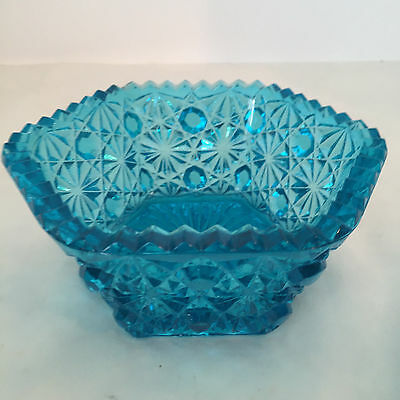 LG Wright Medium Blue Daisy & Button Hexagon 6-Sided Bowl